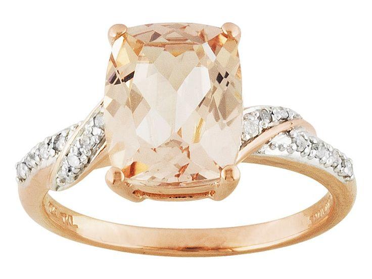 2.20ct Rectangular Cushion Cor-de-rosa Morganite(Tm) & .07ctw Diamond Accents 10k Rose Gold Ring