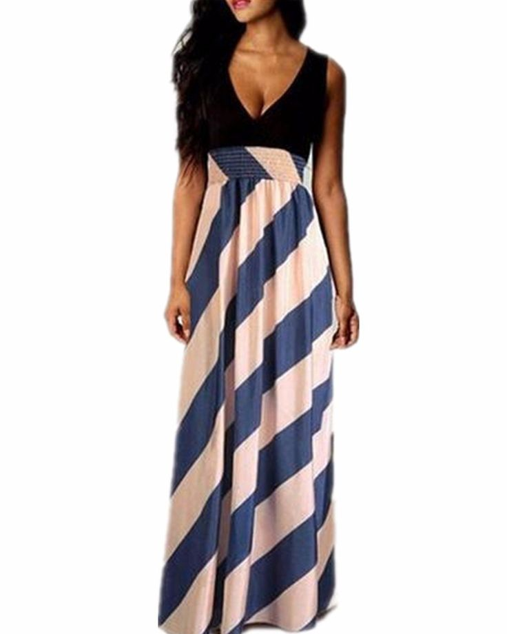 ZANZEA Women's Boho Striped Evening Party Sleeveless Long Maxi Dress Sundress Black L -- Awesome products selected by Anna Churchill