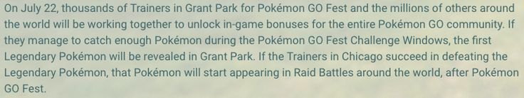 [Idea] PREDICTION: Only one legendary will be released right away. First off not plural Pokemon. Possibly the trainers in Chicago will vote which one specifically gets released. Keyword first Pokemon that.