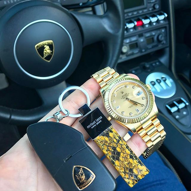 @michael_louis_ #ClassicKeyHolder in Yellow Python x Lamborghini  x Rolex Day-Date  via LUXURY LIFESTYLE MAGAZINE OFFICIAL INSTAGRAM - Luxury  Lifestyle  Culture  Travel  Tech  Gadgets  Jewelry  Cars  Gaming  Entertainment  Fitness