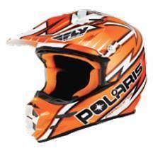 FLY F2 Carbon Snow Open Face Snowmobile Helmet - Orange/White by Polaris 2863184 #polaris