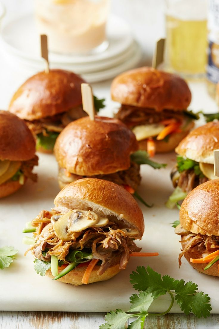 Pulled pork and mushroom sliders - a classic party starter