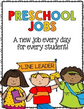This Preschool Jobs kit has everything you need to give every student in your preschool classroom a job!  Giving every student a job helps children learn responsibility and helps everyone feel included.  Included in this Preschool Jobs Pack:-20 Jobs with Descriptions-How to Organize Classroom Jobs-20 Classroom Jobs labels -Supplemental Pages -Song Rings-'Getting to Know you' SurveysClipart by Creative Clips and KPM Doodles