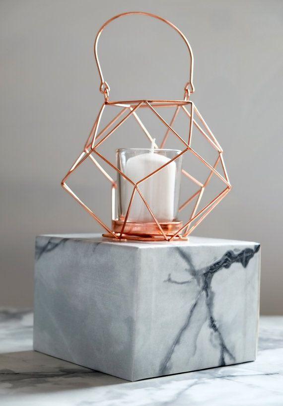 Bougeoir en cuivre fil géométrique par geofleur sur Etsy