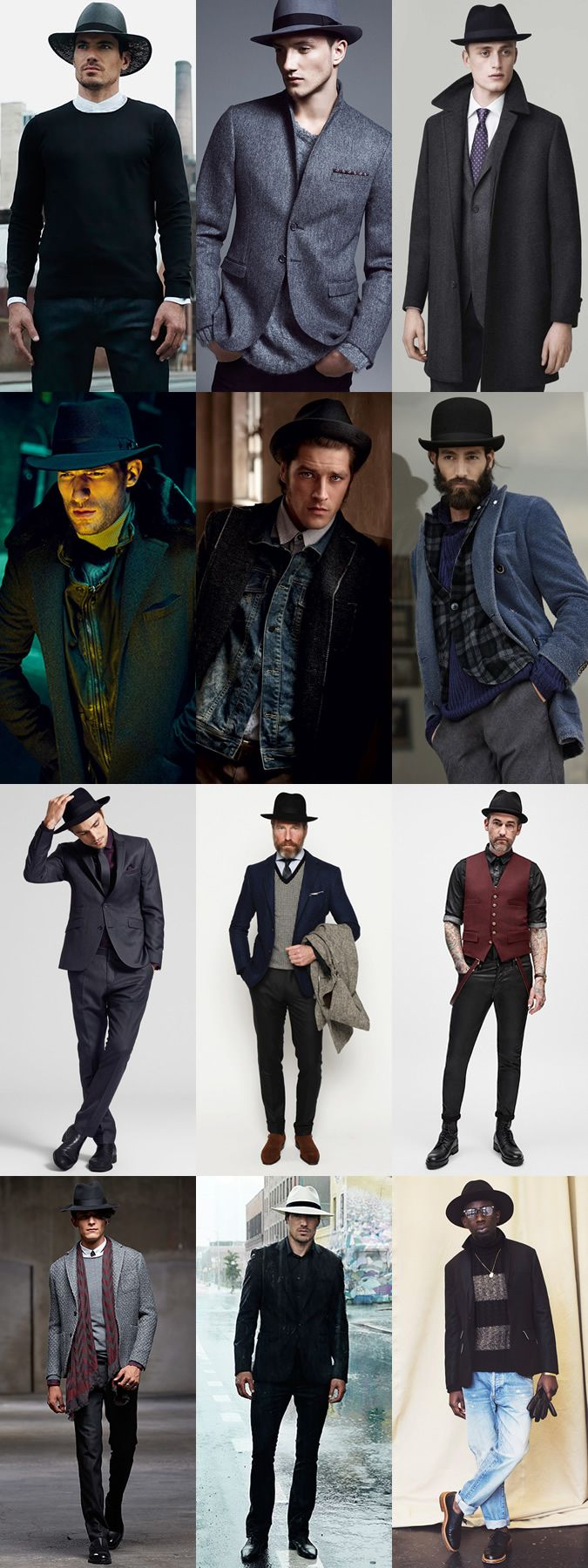 Men's Structured Hats - Fedora, Trilby, Bowler and Pork Pie - Autumn/Winter Outfit Inspiration Lookbook
