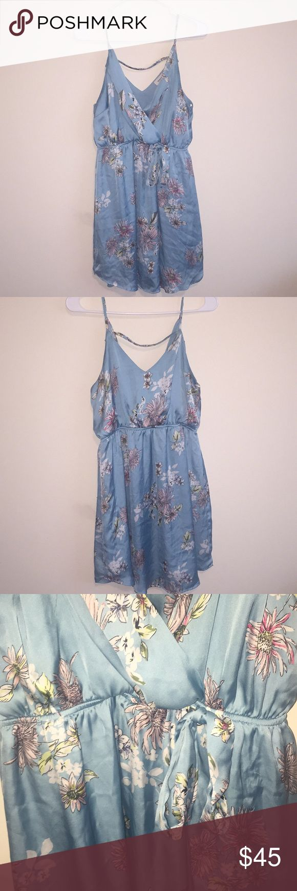 Baby blue floral silk dress Great piece to dress up with heels or down with sandals Dresses Mini
