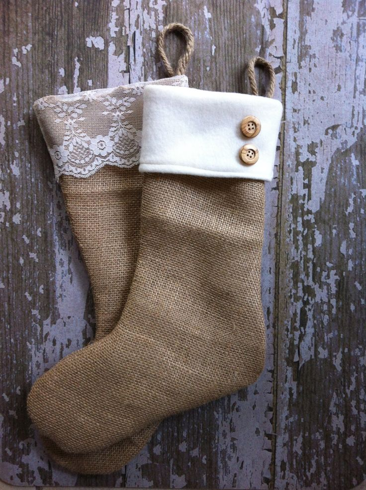 The Classic Cream Line Single 1 Burlap Stocking by BurlapBabe