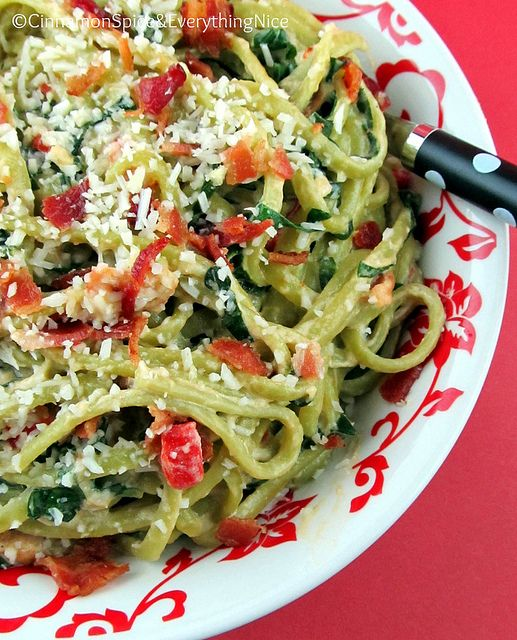 Spinach Linguine with Goat Cheese and Bacon | Recipe
