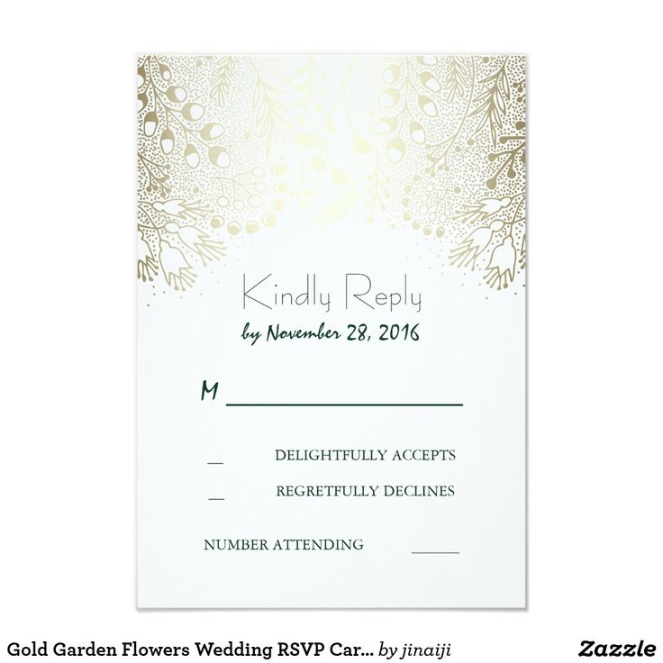 Gold Garden Flowers Wedding RSVP Cards Gold flourishes and emerald green text wedding reply cards