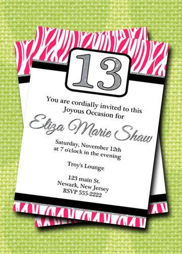 13th Birthday Invitation Birthday Invitation party by HelenaPrints