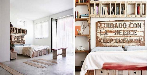Interiori in the Constance Algranti designer's home | The headboard was made with the wood of an old fishing boat.