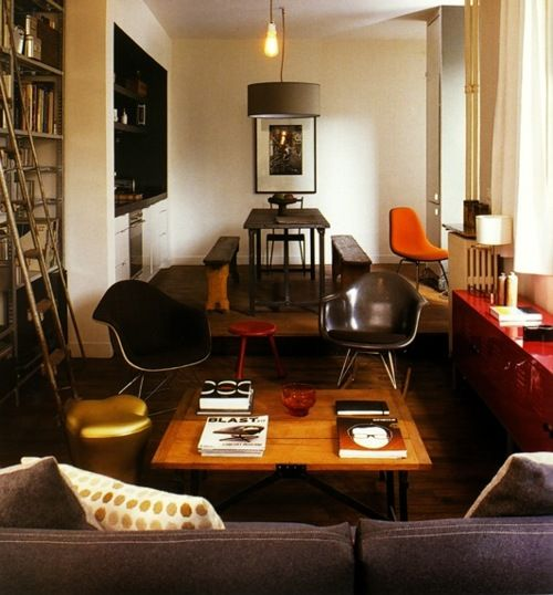 brown, tan, orange, cream: Decor, Games Room, Interiors, Eames, Living Room, New Apartments, Small Spaces, Smart Living, Red Highlights