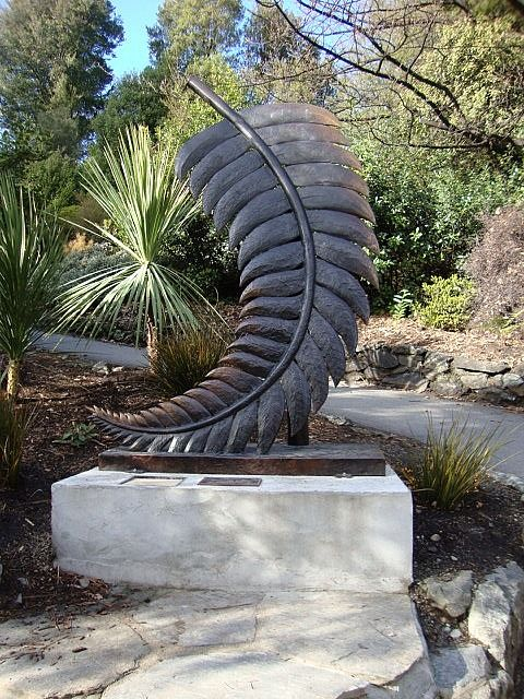 Kiwi fern sculpture. Christchurch, New Zealand