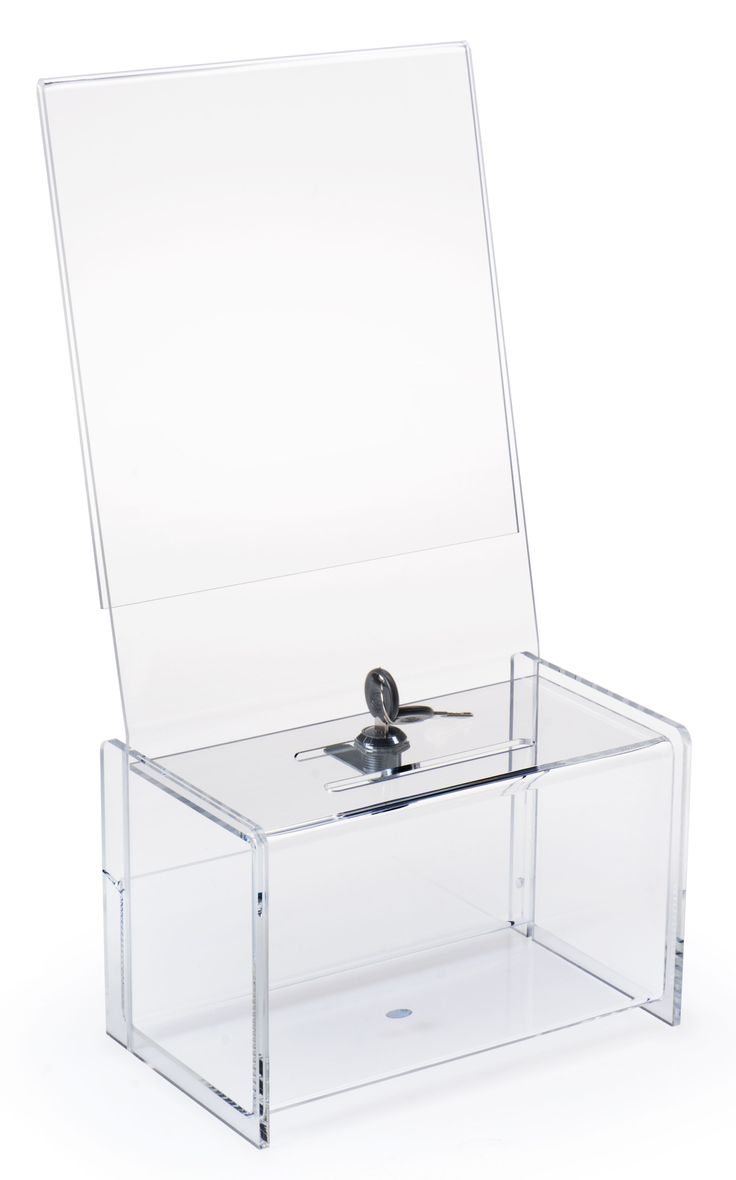 Acrylic Offering Boxes : Acrylic donation box with header clear