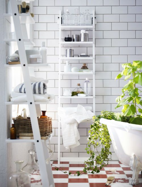 With lots of roomy space and a clean, white modern look, new HJÄLMAREN ladderstyle bathroom shelving will help you get things organized with its form (though you'll have to resist the urge to climb).