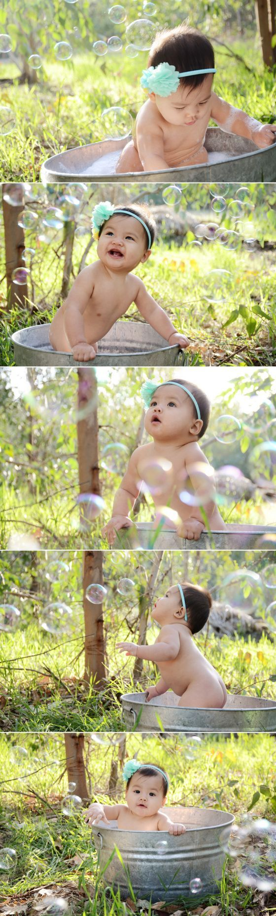 Outdoor Bubble Bath Photos 9 Month Baby Photography https://creatingforourcreator.wordpress.com/2014/04/02/amelias-9-month-bubble-bath-and-easter-photos-menifee-baby-photography/