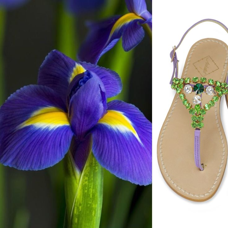 Ankalia Gemma sandals in lilac leather with green Swarovksi crystal embellishements. Available in flats or with a little 2cm heel. Worldwide shipping. #ankalia #gemmasandals #swarovksisandals #purplesandals