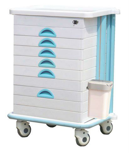 ABS Medicine Trolley, Double Plastic Side Drawer