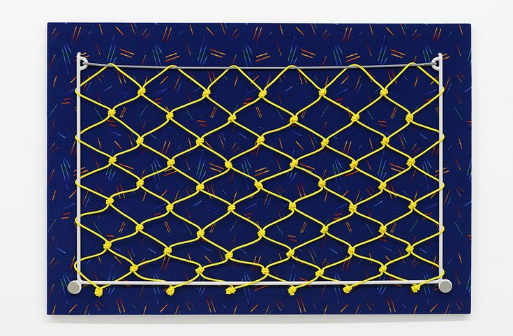 Yonatan Vinitsky, Loose Ends (Canary Yellow), 2015, Wool, Nylon and Cotton Fabric (Vigor BAE309) Mounted on Bespoke Okoume Plywood Backing (23mm), Rolled, Bended and Welded Powder Coated (RAL 7047, Satin Finish) Mild Steel Solid Rod (15mm), 16-Strand Braided 8mm Polypropylene Rope (Canary Yellow 0120), 10mm Monoflex Elastic Cord with Polypropylene Jacket (Gray), Bespoke PVC Washer (8mm), M8 Stainless Steel Glass Boss (15mm), Split Baton, 130,6 × 191 × 3 cm  http://www.fruttagallery.com…