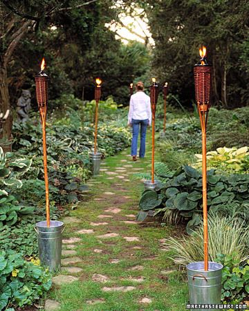 Secure torches in buckets for lovely garden lighting.Lights, Island Style, Hawaiian Parties, Outdoor Parties, Gardens, Parties Ideas, Martha Stewart, Tiki Torches Anchors, Party Ideas