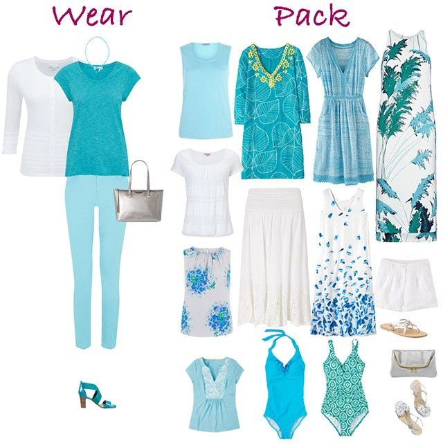 On the #blog today a #holiday #capsuleWardrobe in white & #turquoise #aqua…