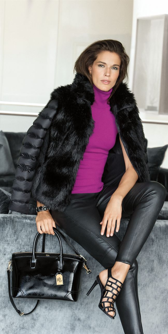 Lauren Ralph Lauren statement coats: This faux-fur down jacket combines the glamour of a fur vest and the sporty style of down outerwear in this layered-looking jacket. Complement its contrasting textures by paring it with a leather skinny pant.