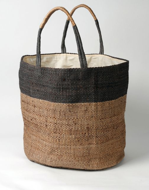 Hand woven jute bag dark charcoal stripe.