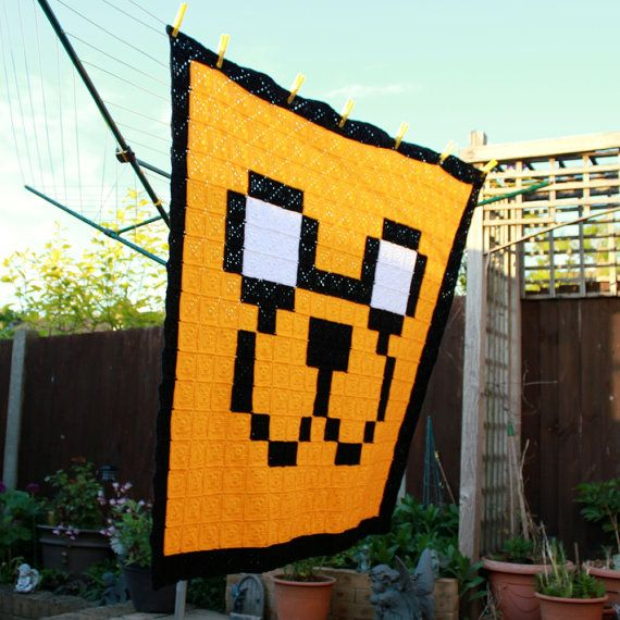 Jake The Dog Inspired Crochet 8-Bit Blanket  Pixel Art  Pixel Blanket by EssHaych - £120.00