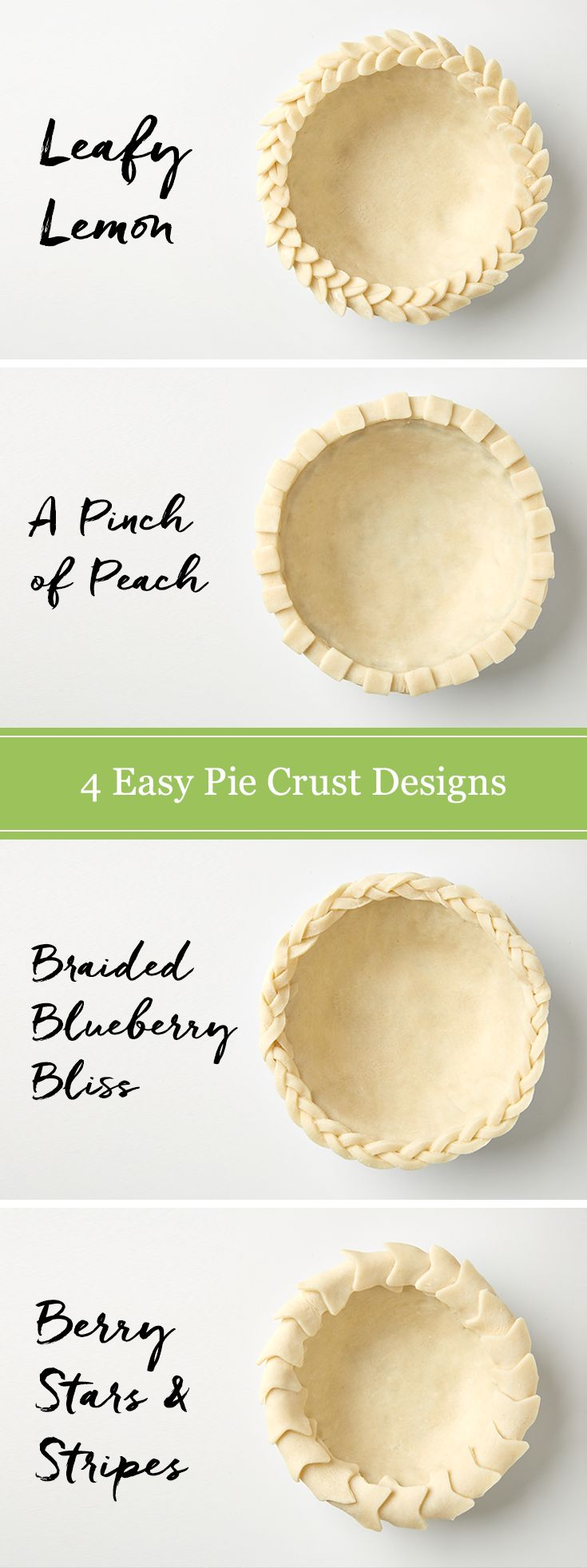 Making homemade dessert accents is easy with a store-bought pie crust and our helpful design ideas. Learn how to make a braided edge, leaves, a lattice top and more. Great for those Fourth of July apple pies!