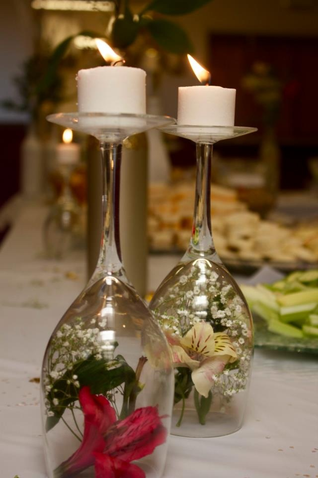 Wine glass center piece party ideas pinterest
