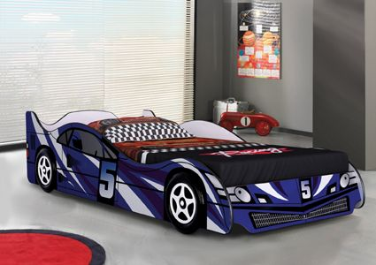 Blue No5 Car Bed. The perfect first bed available in Blue & Red.