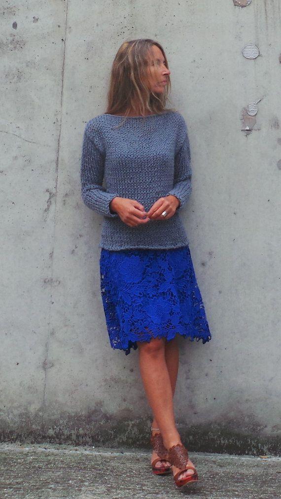 Womens maglione grigio fiocco maglione grigio alpaca di ileaiye