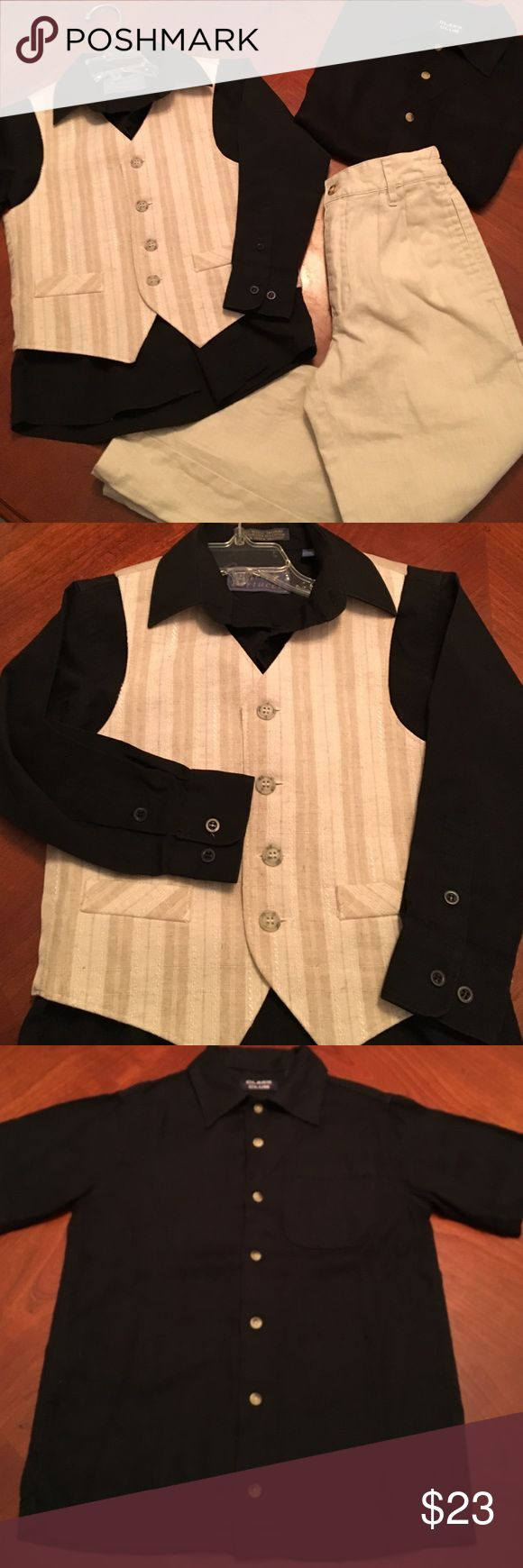 """Boys 4 piece Set. Sizes 6/7/8 Cotton/linen pants size Boys 7 with 26"""" inseam & 20"""" elastic zip up & Button waistline. Size 6 Button down black dress shirt with vest. And a Rayon Short Sleeve button down size 8.  Interchangeable sharp dressed outfits. Matching Sets"""