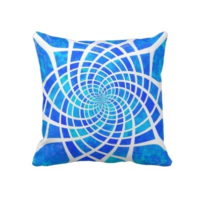 Abstract blue, turquoise aqua watercolor geometric pillow