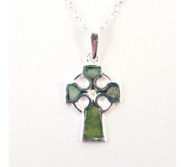 Celtic Cross Pendant with Inlayed Connemara Marble