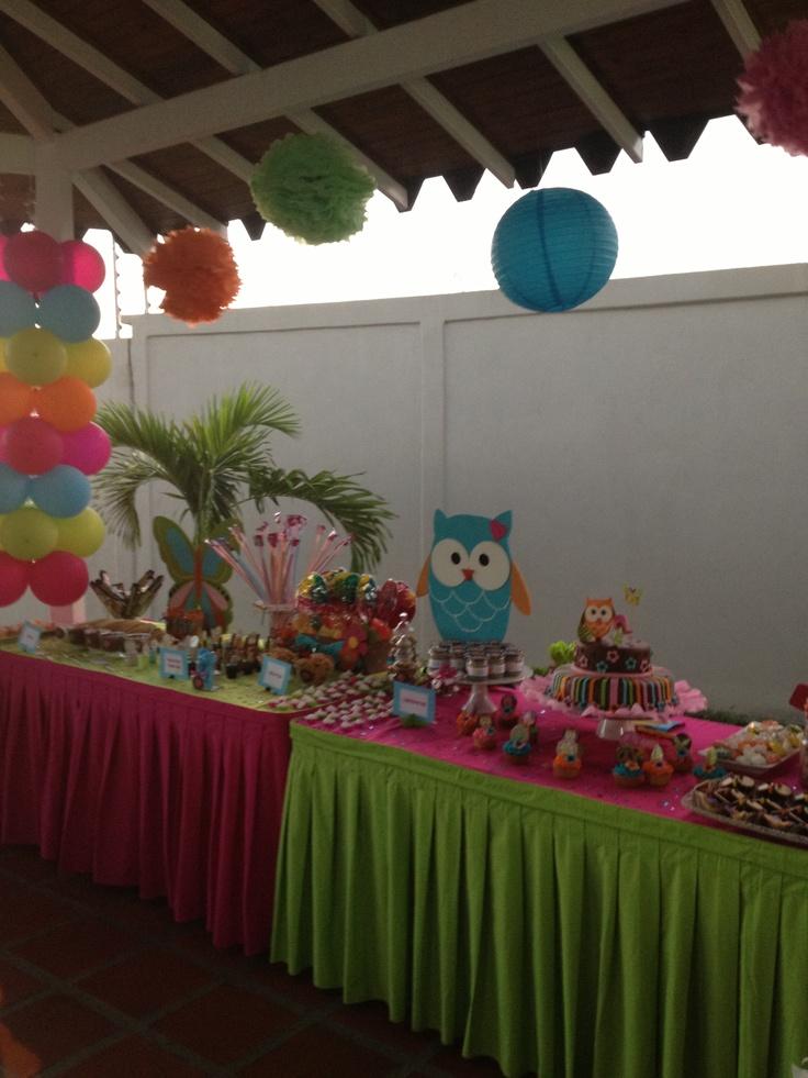 Mesa de dulces cumplea os de b ho pinterest mesas - Decoracion con buhos ...