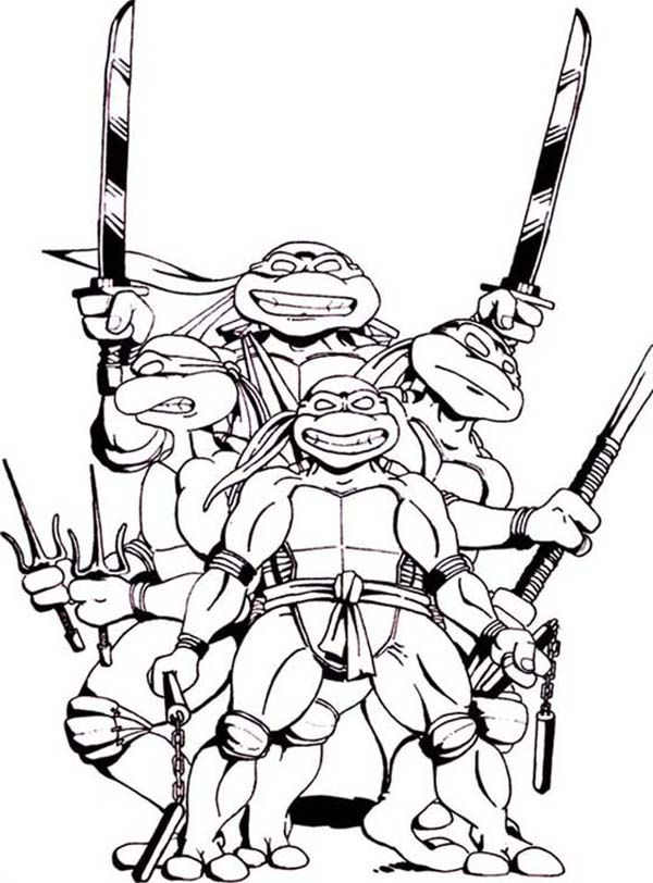 teenage mutant ninja turtles and their favorite weapon coloring page