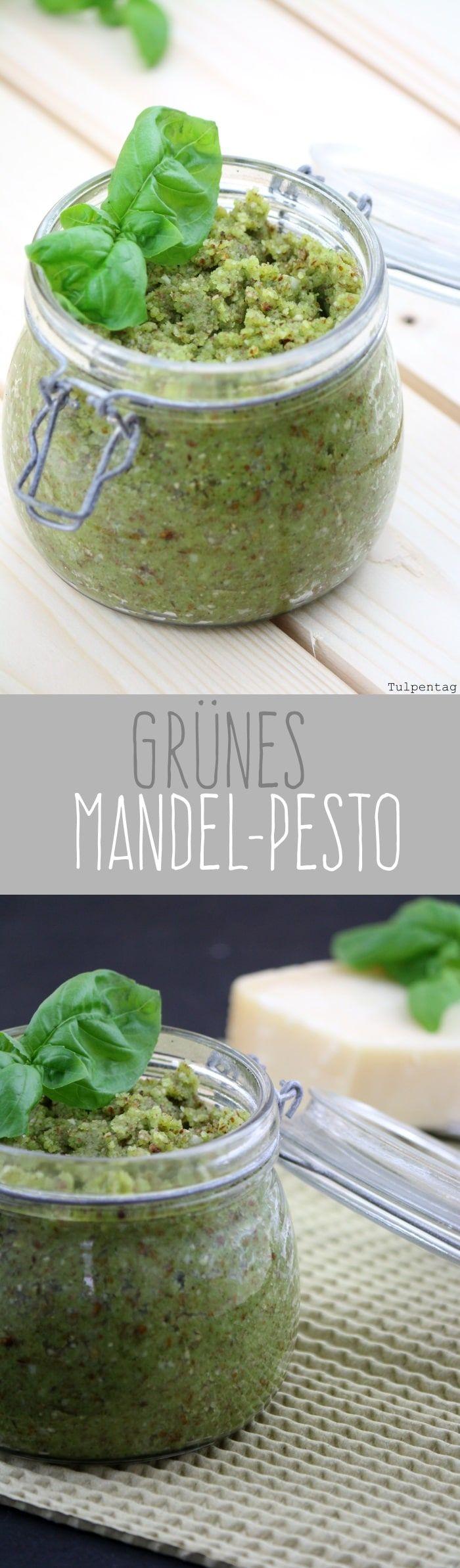 Grünes Pesto mit Mandeln und Basilikum grün schnell Rezept einfach