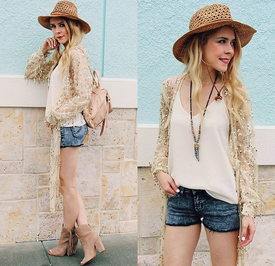 Get this look: http://lb.nu/look/8348311  More looks by Suzy: http://lb.nu/thekawaiiplanet  Items in this look:  Yoins Sequin Top, John Eshaya Denim Shorts, Dolce Vita Fringe Open Toe Boots, Romwe White Tank Top, Botkier Warren Backpack   #bohemian #edgy #street #fblogger #ootd #blonde #sequins #florida #denimshorts