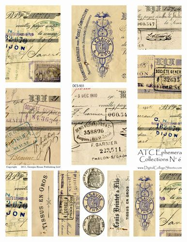 ATC Ephemera Collections #6- Vintage French Check