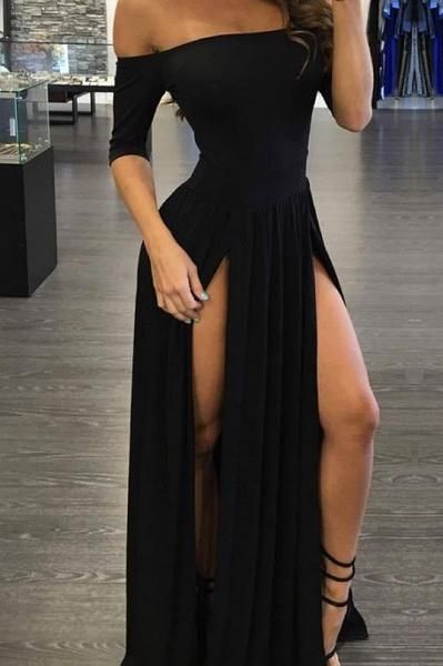 Black Off Shoulder Double Slit Maxi Dress