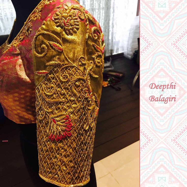 This wedding season s peach colored blouse with all the heavy enchanting zardozi is all set to go with the beautiful saree you are wanting to pick.Watch this space for the full picture of the saree and the blouse together! DeepthiBalagiri  zardozi  peach  goldwork  saree  Indiansaree  weddingsaree  ethnicwear  weddings  12 February 2017
