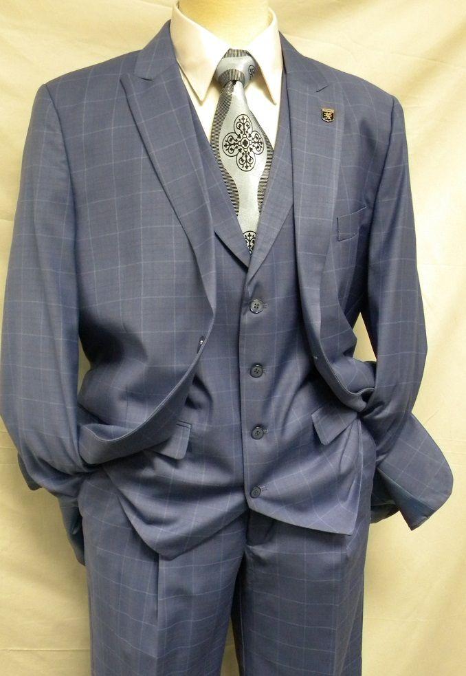 Stacy Adams Blue Plaid 3 Piece Suit Pett Vest 5236-152