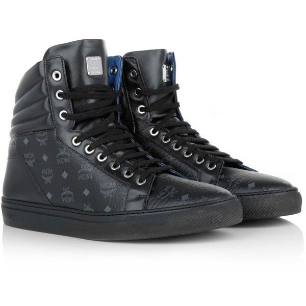 MCM Sneakers, Carryover Hightop Sneaker Black Shoe (1.340 BRL) ❤ liked on Polyvore featuring shoes, black, leather hi tops, leather sole shoes, black hi tops, leather shoes and hi tops