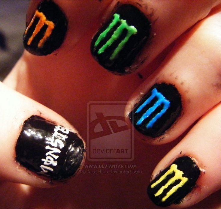 Monster Energy Drink Nails- I might actually try to do this