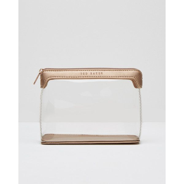 Ted Baker Clear travel wash bag (£22) ❤ liked on Polyvore featuring beauty products, beauty accessories, bags & cases, rose gold, toiletry kits, makeup purse, cosmetic bags, make up purse and dop kit