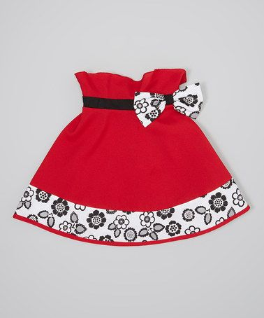Take a look at this Red & Black Floral Bow Paper Bag Skirt - Infant, Toddler & Girls by Little Miss Fashion on #zulily today!
