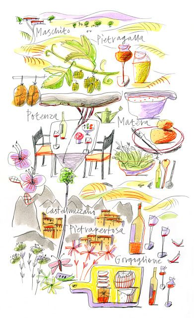 Giulia Binfield - Food Map illustration of Basilicata region of Italy for La Repubblica