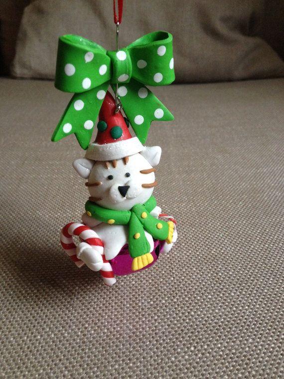 Decoraciones de la Navidad de arcilla de polímero, decorazioni 6 di Natale en fimo, arcilla pingüino, Reno de arcilla, gato de la arcilla del polímero, decoración de Navidad colgante