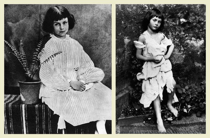 Алиса Лидделл на снимках Льюиса Кэрролла в 1860 (слева) и 1858 (справа, в образе нищенки) годах. Фото: wikimedia.org